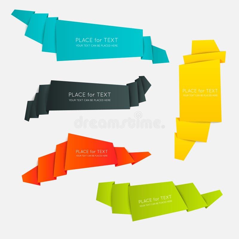 Färgrika och dekorerade pappers- baner stock illustrationer