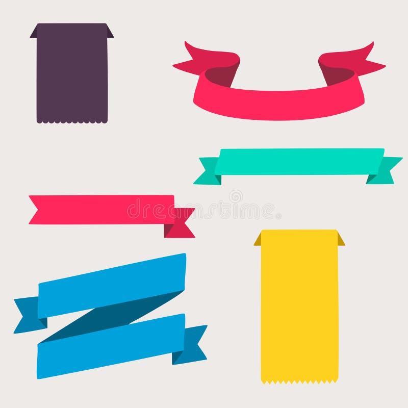 Färgrika och dekorerade pappers- baner vektor illustrationer