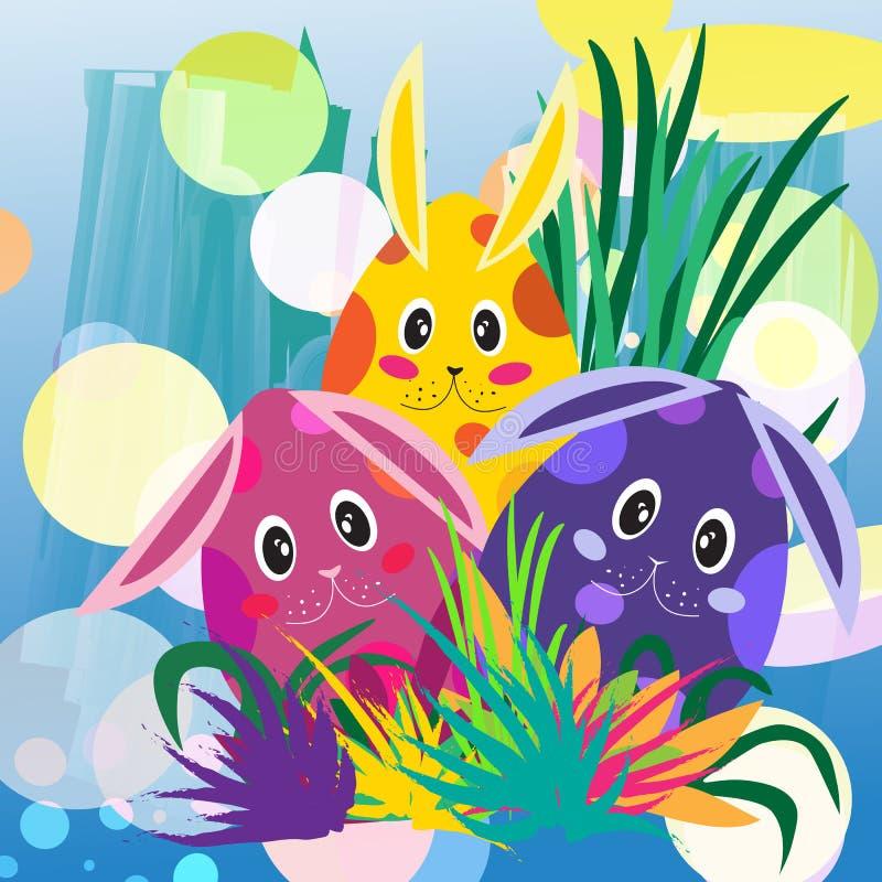 Färgrika och gulliga prickiga kaniner i gräs royaltyfri illustrationer