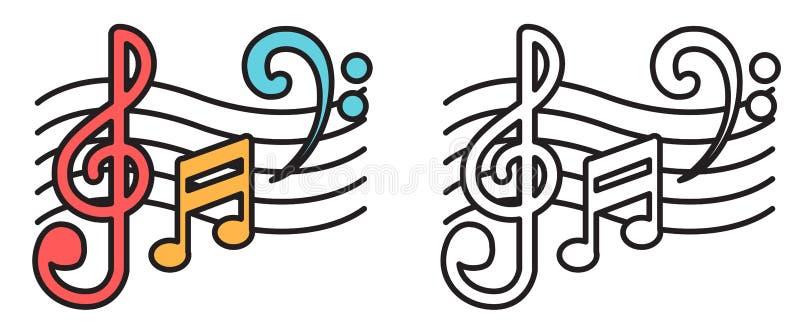 Färgrika och svartvita musikanmärkningar för färgläggningbok royaltyfri illustrationer