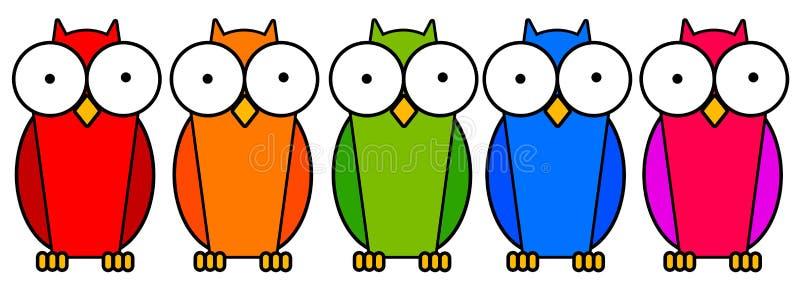 färgrika owls royaltyfri illustrationer