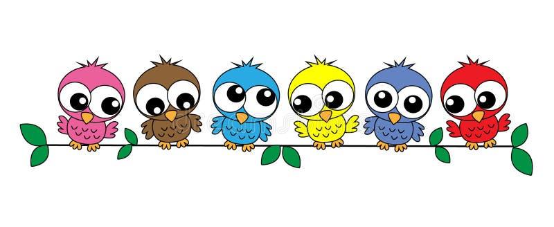 färgrika owls stock illustrationer