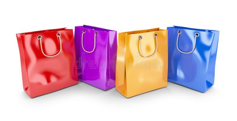 Färgrika påsar för att shoppa. 3D  royaltyfri illustrationer