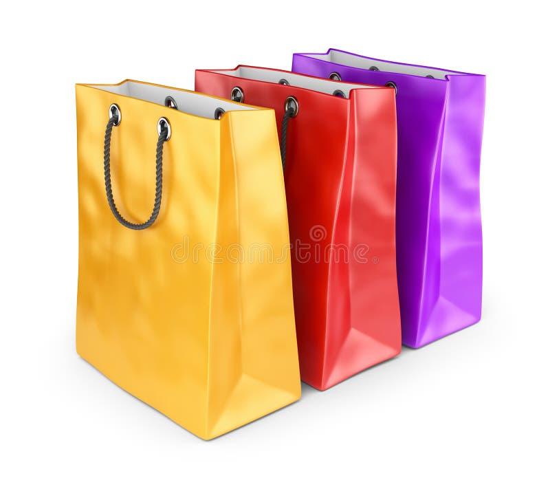 Färgrika påsar för att shoppa. isolerad 3D vektor illustrationer