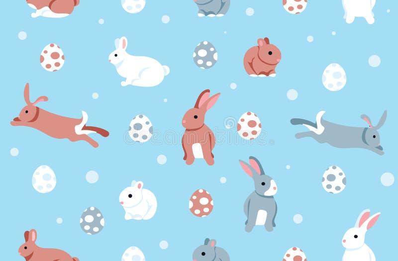 Färgrika påskägg Bunny Seamless Background Pattern royaltyfri illustrationer