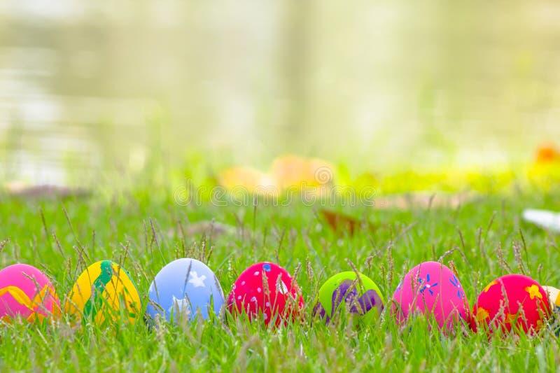 Färgrika påskägg dekorerade med blommor i gräset arkivfoton