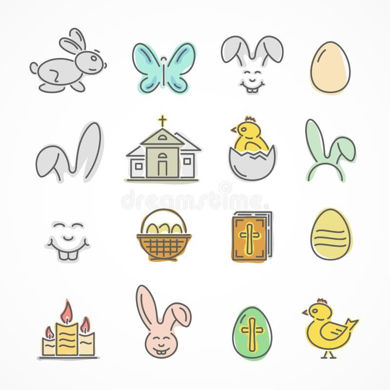 Färgrika påsksymboler stock illustrationer