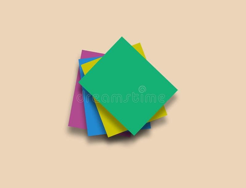 Färgrika pappers- anmärkningar på beige bakgrund med rent utrymme för text stock illustrationer