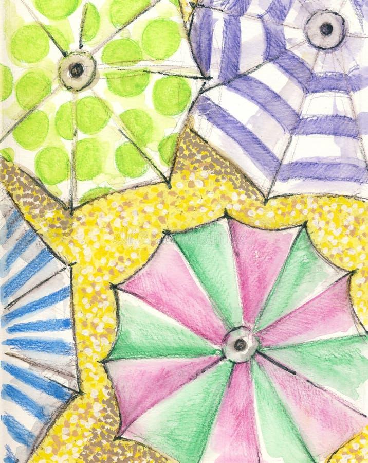 Färgrika paraplyer stock illustrationer