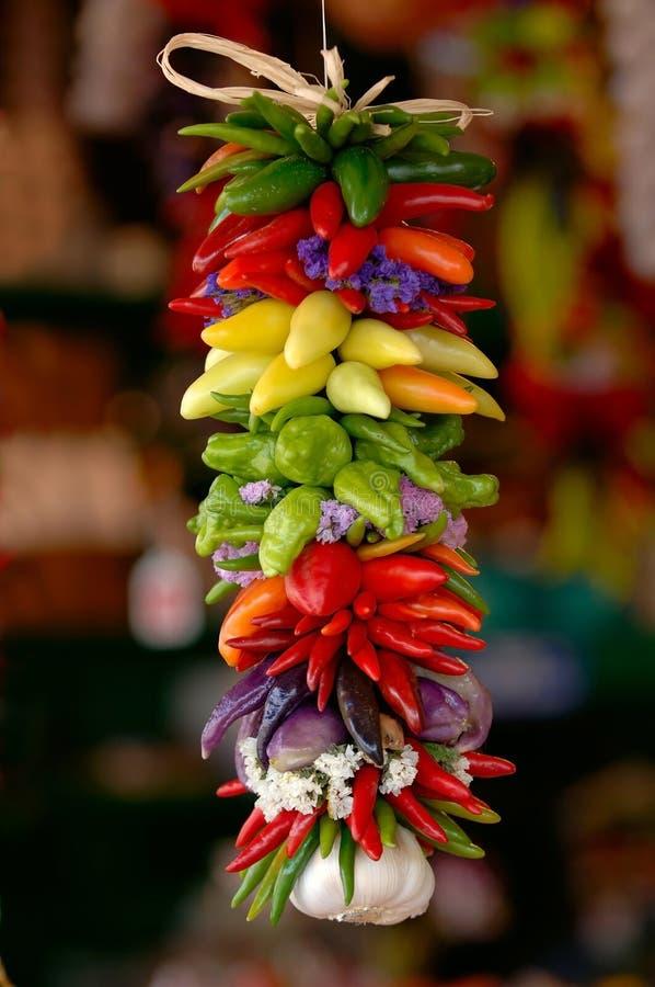 färgrika peppar för chili royaltyfri bild