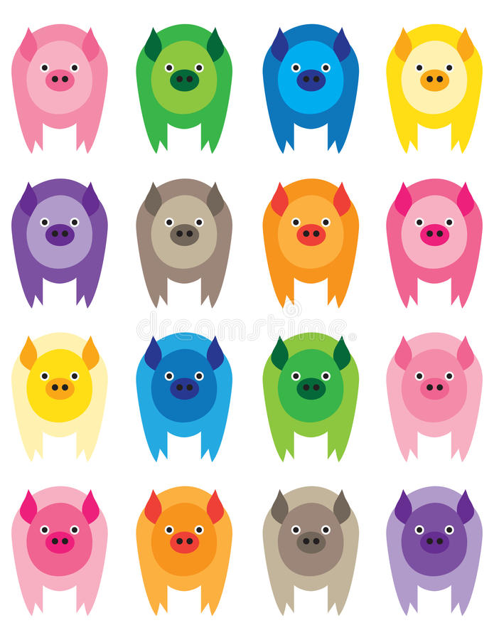 färgrika pigs stock illustrationer