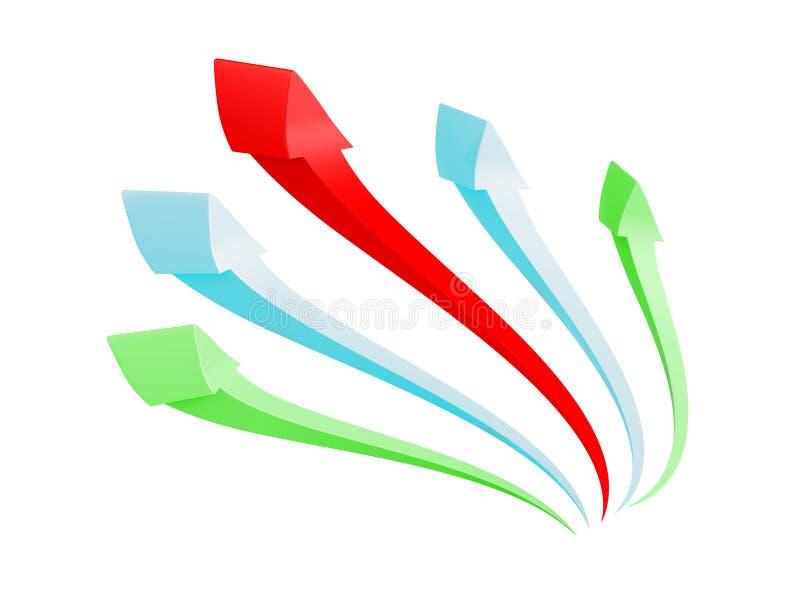 Färgrika pilar grupperar stigning upp på vit bakgrund vektor illustrationer