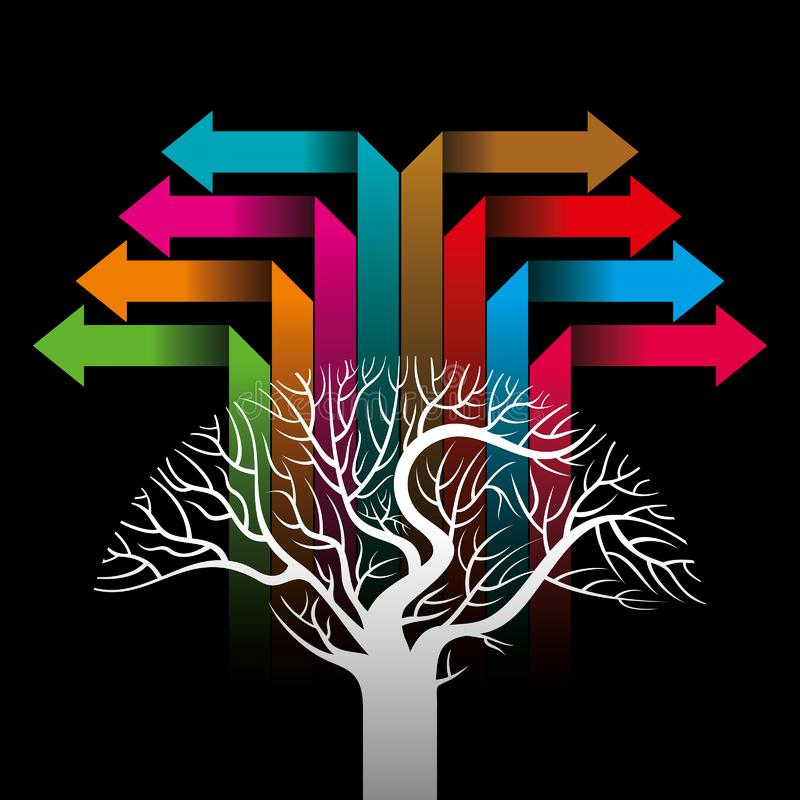 Färgrika pilar som bildar ett träd stock illustrationer
