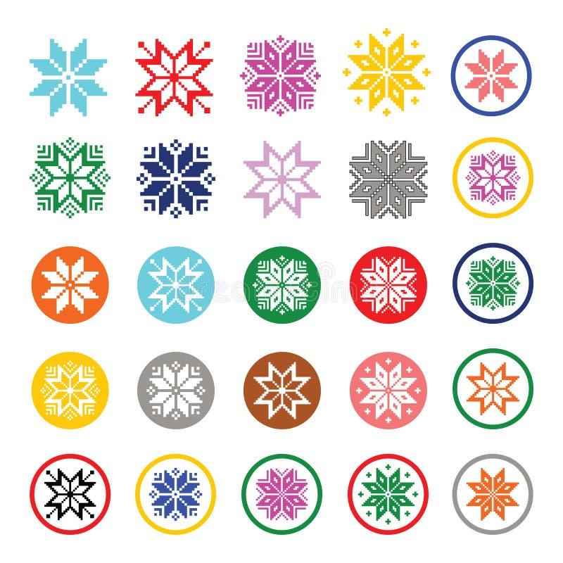 Färgrika pixelated snöflingor, julsymboler royaltyfri illustrationer