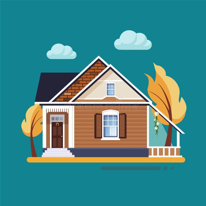 Färgrika plana bostads- hus vektor illustrationer