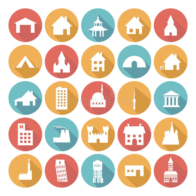 Färgrika plana symbolsdesigner - byggnader royaltyfri illustrationer