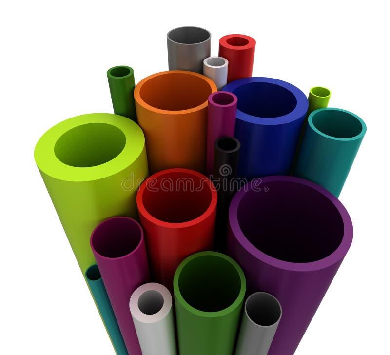 Färgrika Plastic rør vektor illustrationer