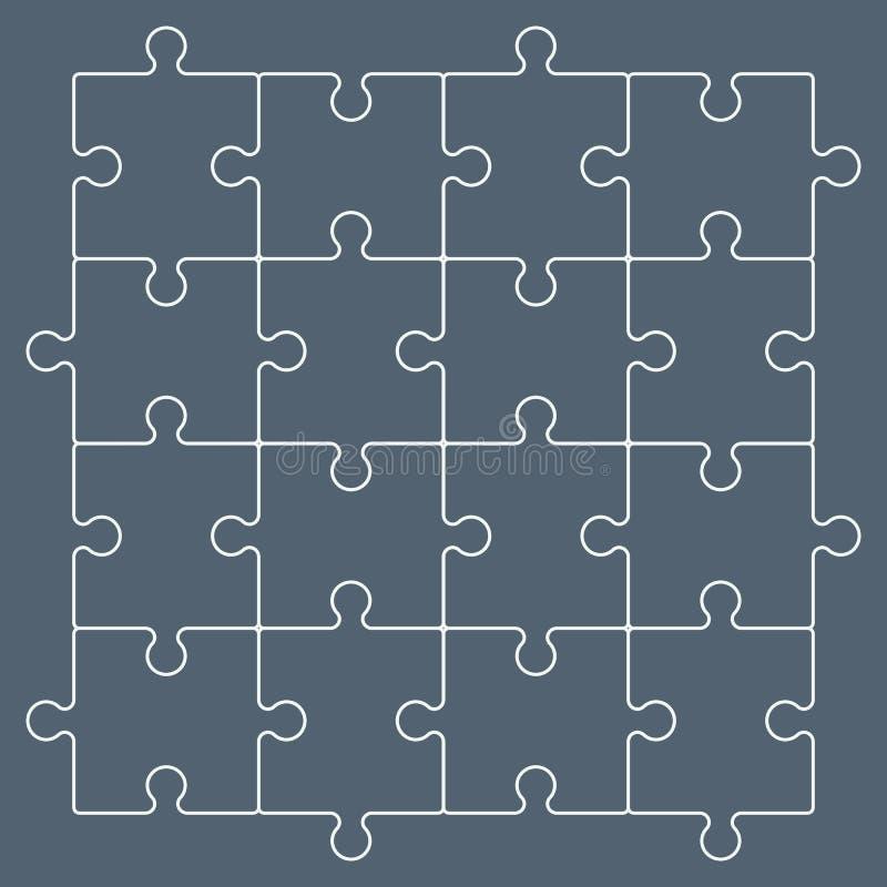 Färgrika pusselstycken som bildar en fyrkantig plugghäst, diagram royaltyfri illustrationer