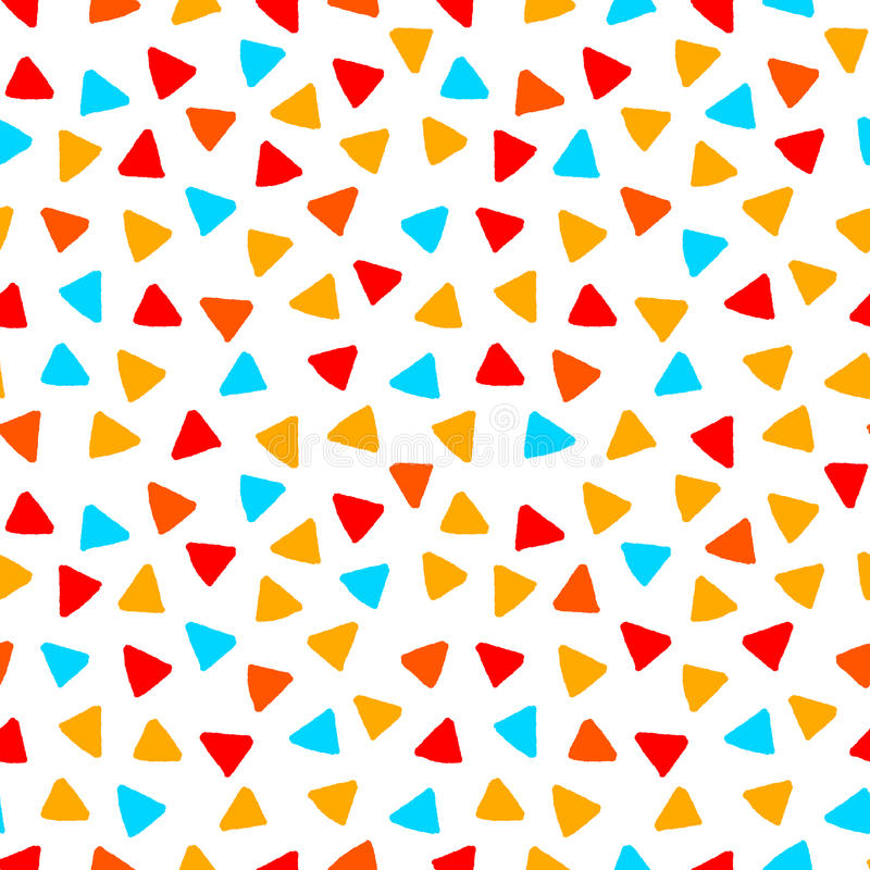Färgrika röda blåtttrianglar för orange guling räcker den utdragna sömlösa modellen, vektor vektor illustrationer