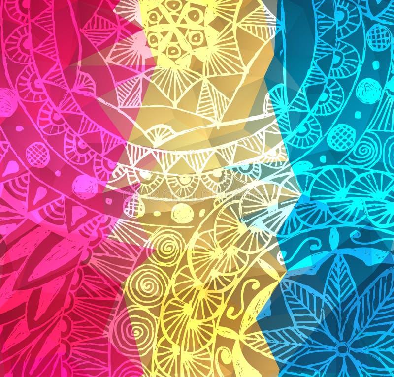 Färgrika röda, för rosa färg- och gulingvektormålarfärg färgstänk Bakgrund för indierHoli festival Vattenfärgbaner med stock illustrationer