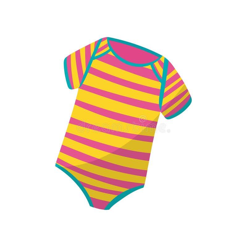 Färgrika randiga bodysuits för litet barn Gullig dräkt för nyfödd pojke eller flicka Ungekläder Stilfull barndräkt royaltyfri illustrationer