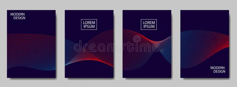 Färgrika rastrerade linjer vinkar räkningen av sidaorienteringar planlägger Räkning för modern design med rastrerade lutningar Dy royaltyfri illustrationer