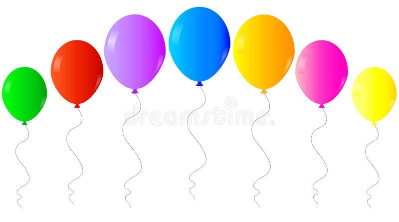 Färgrika realistiska heliumballonger för rengöringsduk som isoleras på vit bakgrund stock illustrationer