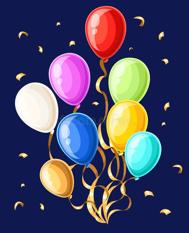 Färgrika realistiska heliumballonger som isoleras på den vita sidan och mobilen app för webbplatsen för bakgrundsvektorillustrati stock illustrationer