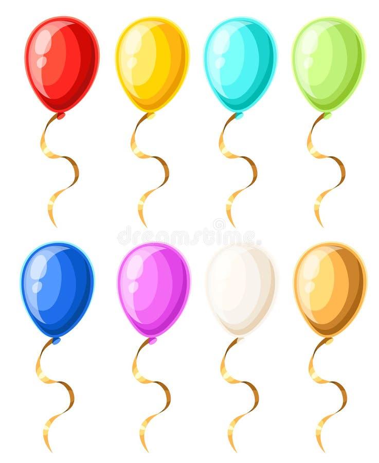 Färgrika realistiska heliumballonger som isoleras på den vita sidan och mobilen app för webbplatsen för bakgrundsvektorillustrati royaltyfri illustrationer