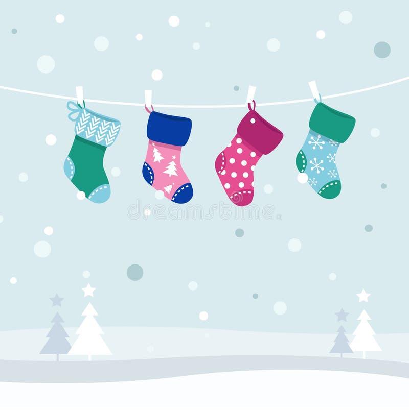 färgrika retro strumpor för julsamling stock illustrationer