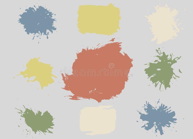Färgrika Retro vektorfläckar, fläckar, färgstänkuppsättning royaltyfri illustrationer