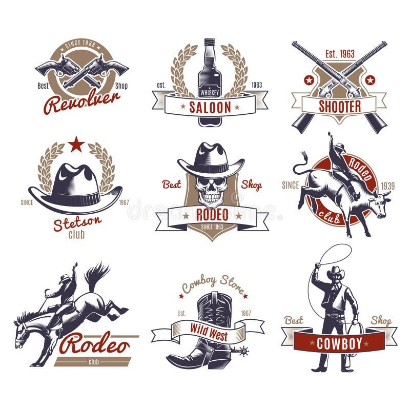 Färgrika rodeoetiketter och logoer royaltyfri illustrationer