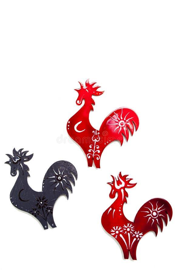 färgrika roosters arkivbild