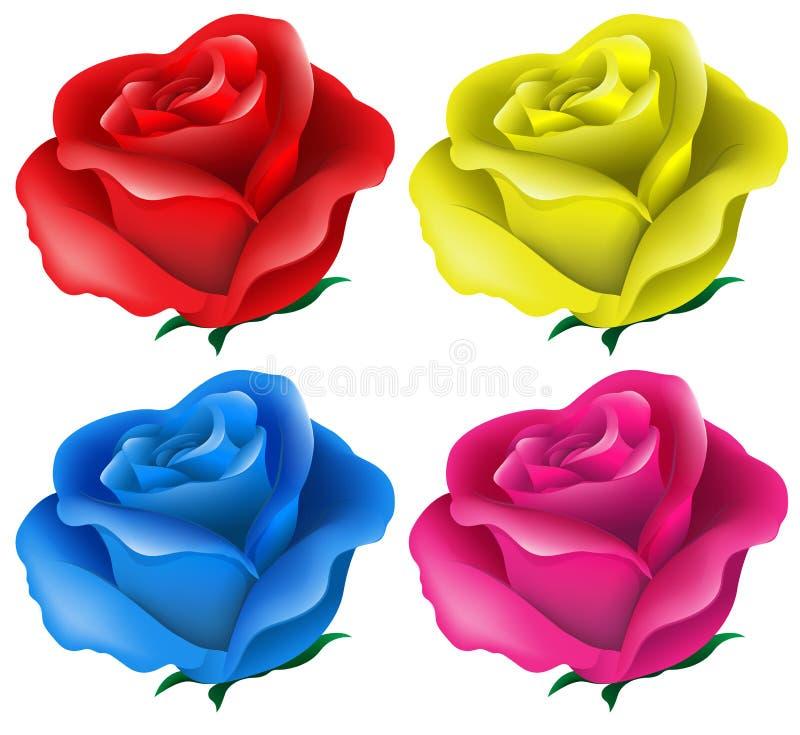 Färgrika rosor stock illustrationer