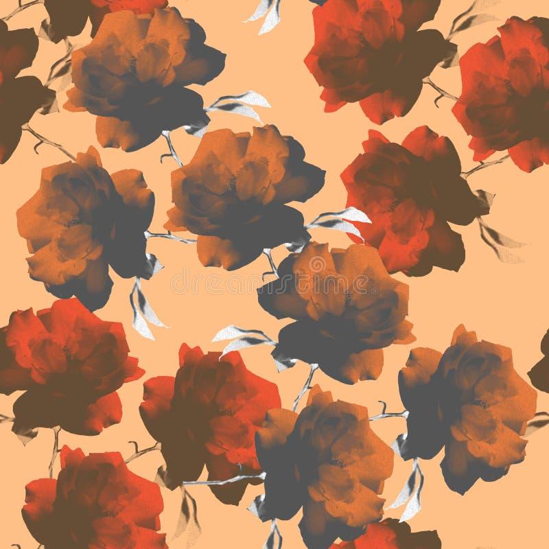 Färgrika rosor för foto på orange bakgrund seamless modell royaltyfri illustrationer