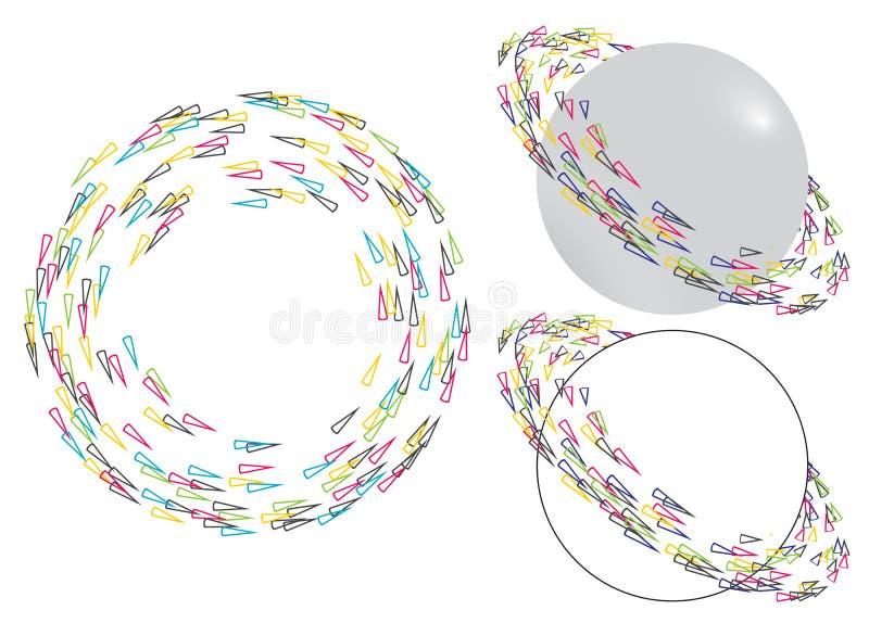 Färgrika roterande pilcirkelbeståndsdelar stock illustrationer