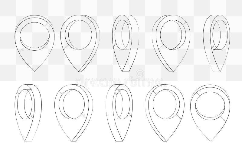 Färgrika runda markörer Översikter klämmer fast den inverterade droppe formade symbolen för att markera loca royaltyfri illustrationer