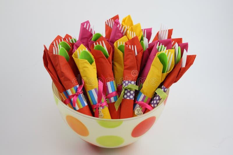 färgrika servetter för bunke royaltyfria bilder