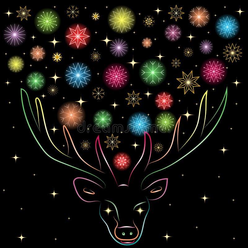 Färgrika Shinning snöflingor mellan Deer& x27; s-horn Hand dragen kulör kontur för regnbåge av renen royaltyfri illustrationer