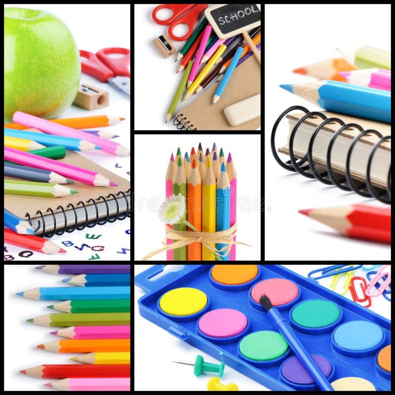 Färgrika skolatillförsel. Collage royaltyfri fotografi