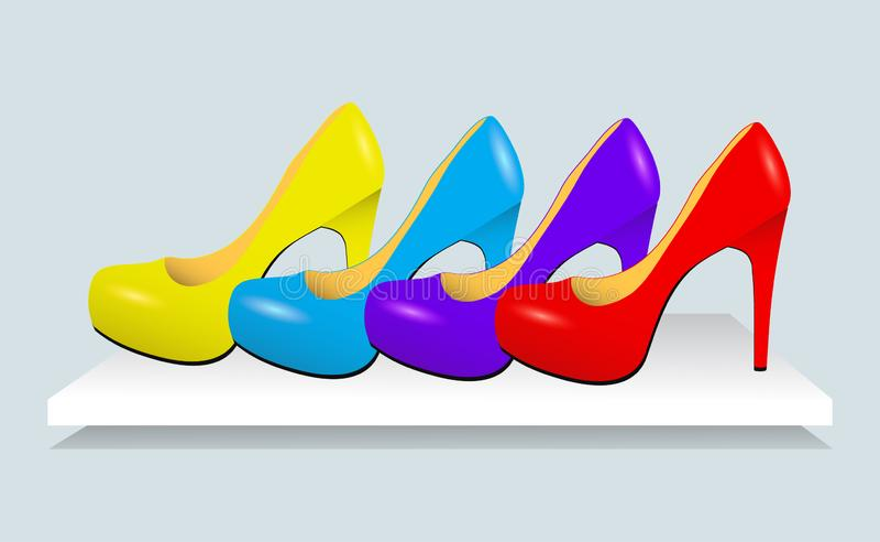 Färgrika skor för läder för kvinnahöjdhäl också vektor för coreldrawillustration stock illustrationer