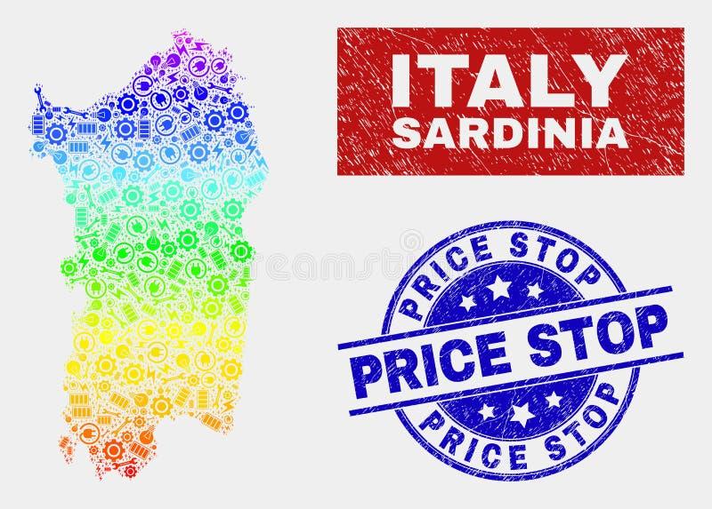Färgrika skyddsremsor för stämpel för stopp för pris för för fabriksSardinia översikt och nödläge royaltyfri illustrationer