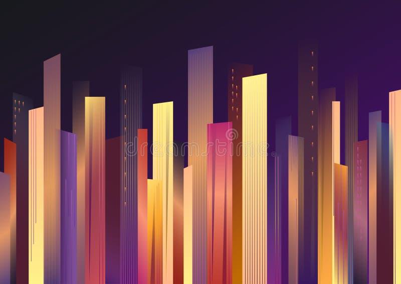 Färgrika skyskrapor mot natthimlen, vektorillustration som är horisontal stock illustrationer