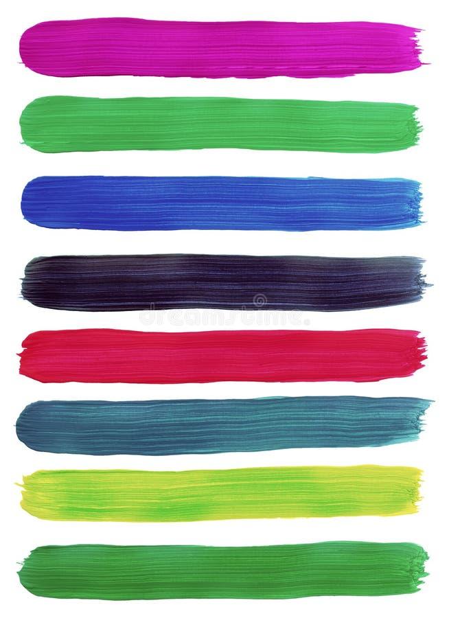 Färgrika slaglängder för borste för vattenfärghandmålarfärg. royaltyfri bild