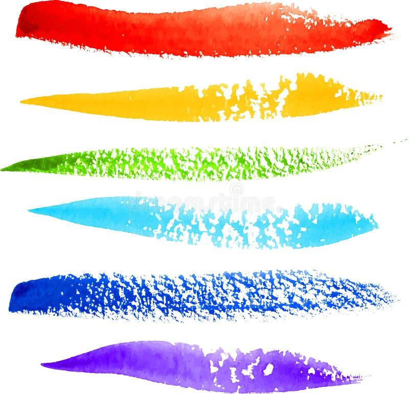 Färgrika slaglängder för regnbågemålarpenselvektor royaltyfri illustrationer