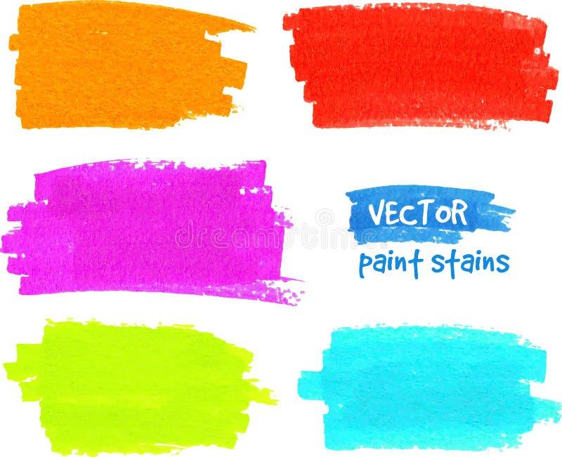 Färgrika slaglängder för regnbågemålarpenselvektor stock illustrationer