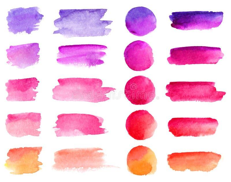 Färgrika slaglängder för vektorvattenfärgborste Målarfärg för regnbågefärgvattenfärgen befläcker uppsättningen för vektorbanerbak vektor illustrationer