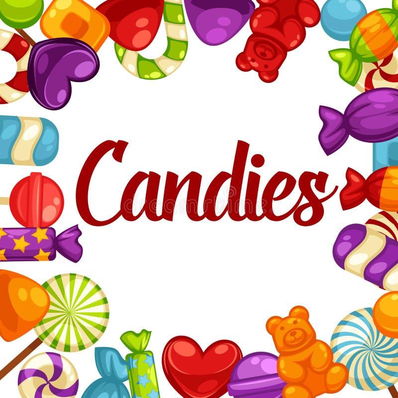 Färgrika smakliga godisar som göras av den befordrings- affischen för karamell och för gelé royaltyfri illustrationer