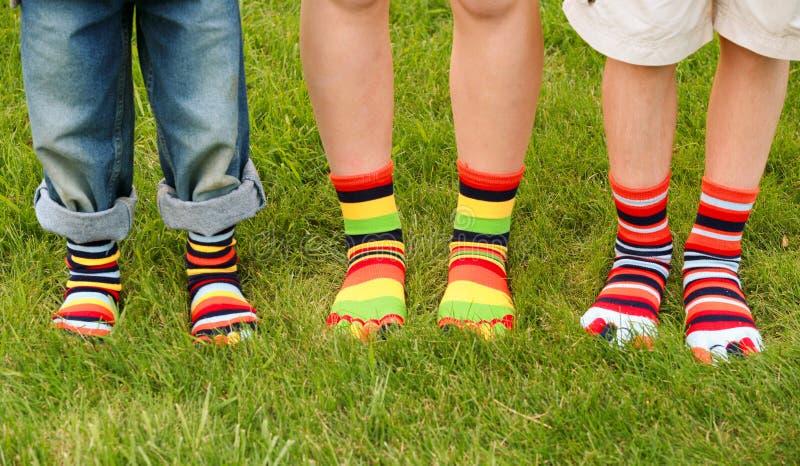 färgrika sockor arkivfoto