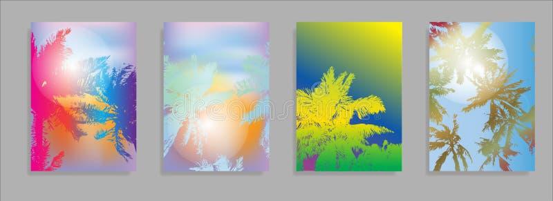 Färgrika sommarbaner, tropiska bakgrunder ställde in med gömma i handflatan, sidor, havet, moln, himmel, strand färgar Härlig som royaltyfri illustrationer